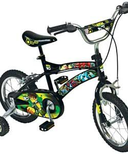 ben 10 14 inch Bike Your Ben 10 fan can whizz to the rescue with this Ben 10 14 inch monster bike with cool graphics, printed chainguard, front and rear calliper brakes and removable stabilisers, Ben 10 14 inch Bike from http://www.comparestoreprices.co.uk/outdoor-toys/ben-10-14-inch-bike.asp