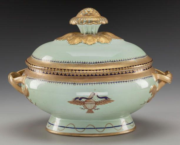 Ceramics & Porcelain, Continental:Contemporary (1950 to present) , A Mottahedeh Porcelain and Partial Gilt Covered Tureen, circa 1965.Marks: Incised MOTTAHEDEH and label to underside, . ...(Total: 2 Items)
