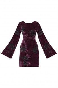 dhruv kapoor Wine Floral Applique Work Velvet Dress