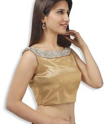 Buy golden brocade embroidery non padded readymade sleeveless blouse sleeveless-blouse online