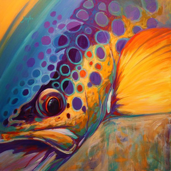 """River Orchid"" Contemporary Brown Trout Fly fishing Art, a Colorful Trout Fish Painting by renowned Fishing & Sporting artist Savlen."