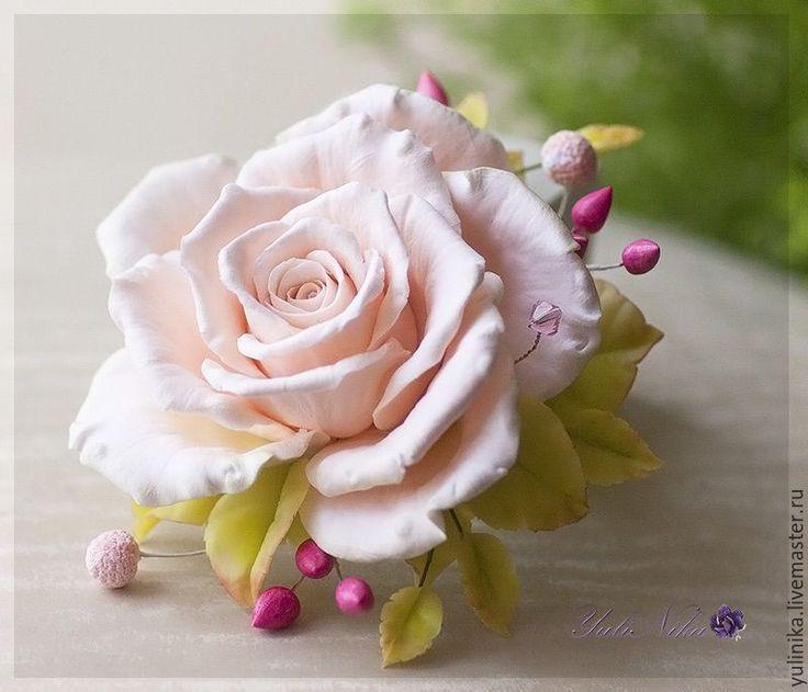 Купить Брошь с чайной розой - кремовый, розовый, чайная роза, кремовая роза, розы