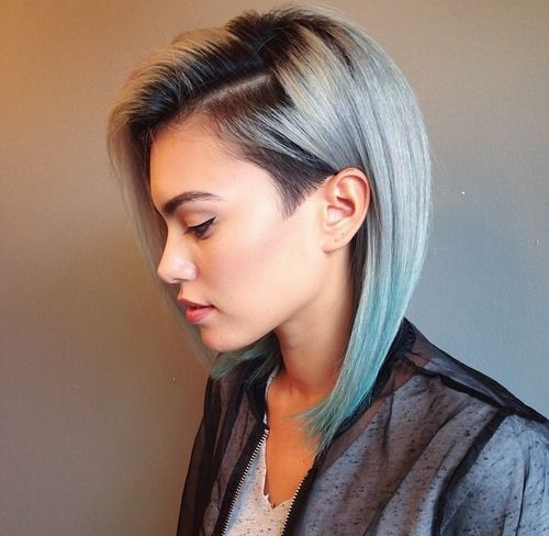 Edgy cut with light blue color..nice way to grow out sidecut!