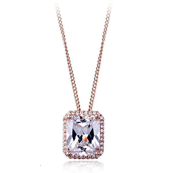Лучший подарок для подруги позолоченные площади алмазный кулон ожерелье