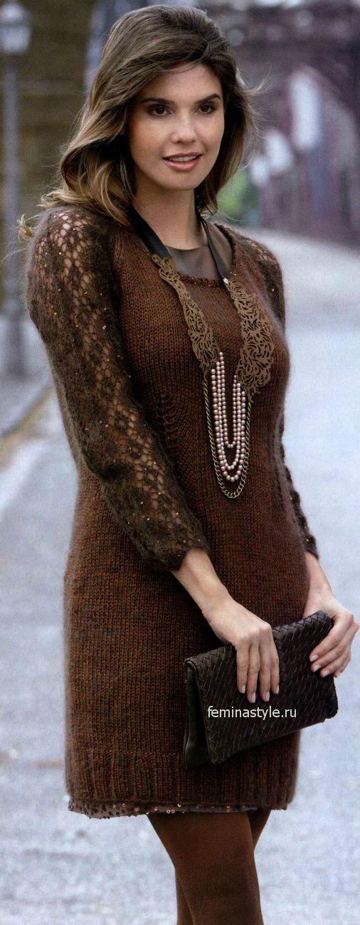 Вязание спицами ажурного платья