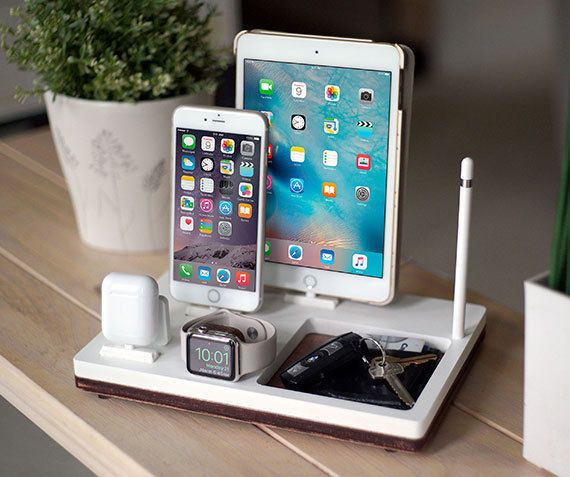 NytStnd TRAY 4 White - FREE 2 Day SHIPPING Charging Station iPhone 7 iPad Apple Watch Apple Pencil AirPods Wood Birthday Gift Present