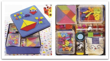 travel play tin--glue felt to inside to make felt pictures, include dry erase marker to write directly on tin lid, use magnets, etc.