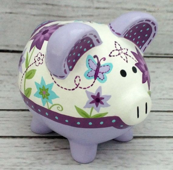 Personalized Piggy Bank Artisan hand painted by Alphadorable