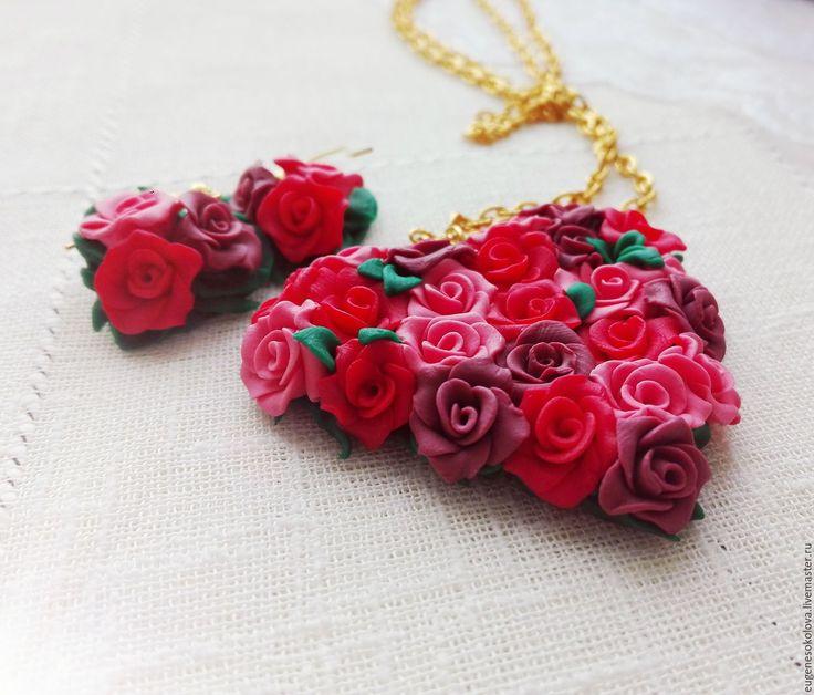 Купить Комплект Нежное сердце из полимерной глины - ярко-красный, красный, розовый, сердце