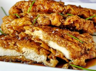 Double Crunch Honey Garlic Chicken Breasts__ 4 large chicken breasts. Crunchy and savory yet a touch of sweetnees... Can also be tried with PORK