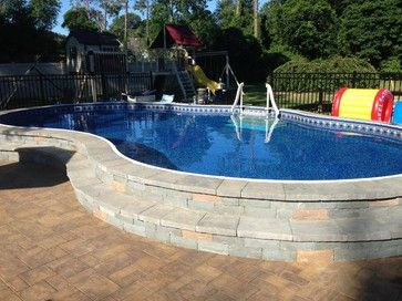Semi Inground Pool Landscaping Ideas | 18x32 Freeform Semi in ground pool -swimming-pools-and-spas