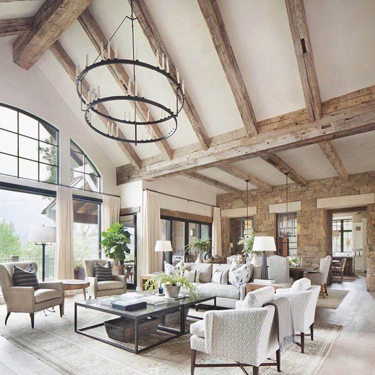 wooden beams in the living room