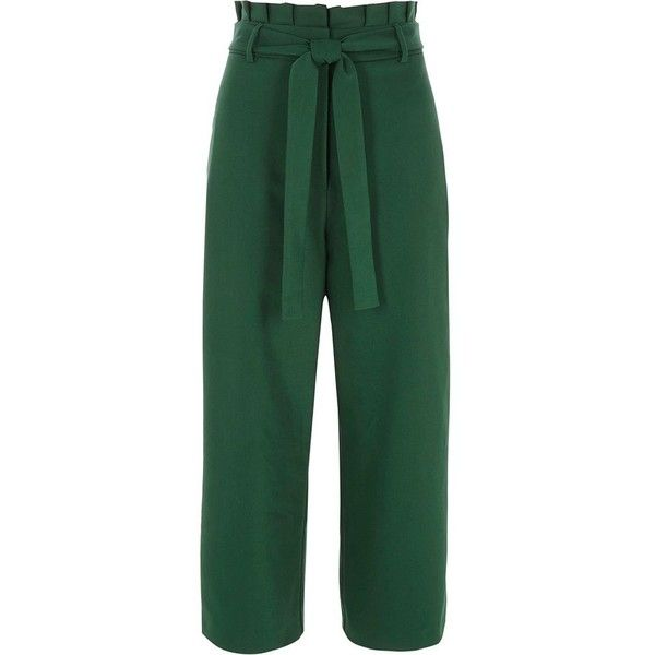 97d657b94 River Island Dark green paperbag waist culottes ($80) ❤ liked on Polyvore  featuring pants, capris, green, wide leg trousers, women, green pants, ...