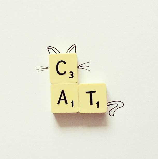 Petite décoration DIY avec des lettres de Scrabble sur le thème du chat