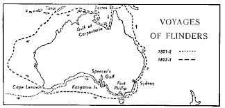 This map shows the journey of Filnders  during exploring Australia