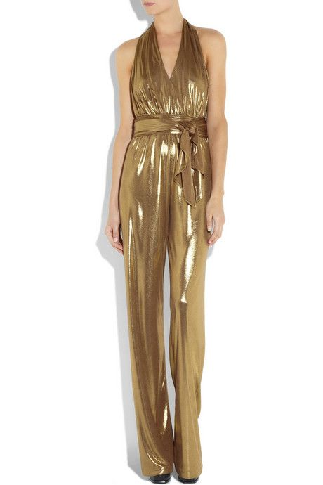 I want this sooo bad!! LOVE!!Halston Heritage Halterneck lamé jumpsuit1