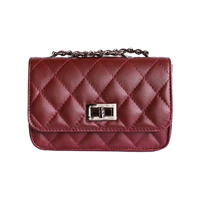 Designer Style Quilted Italian Burgundy Leather Handbag (Small Size) - £44.99