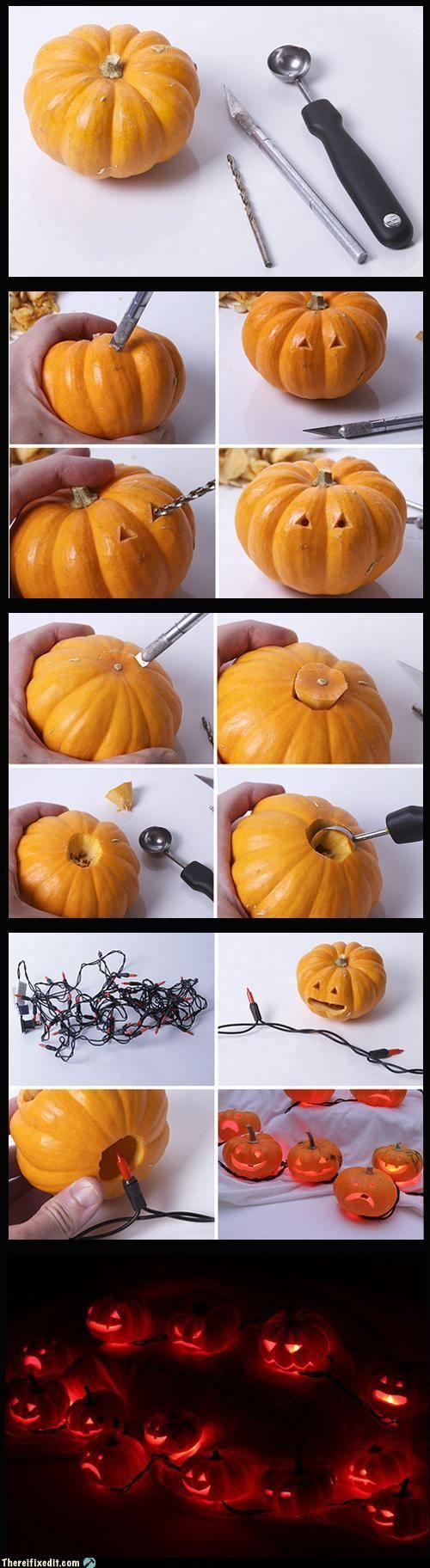 Carving small pumpkins and put the hole in the bottom instead and living a rail or walkway with lights placed inside to light them up.