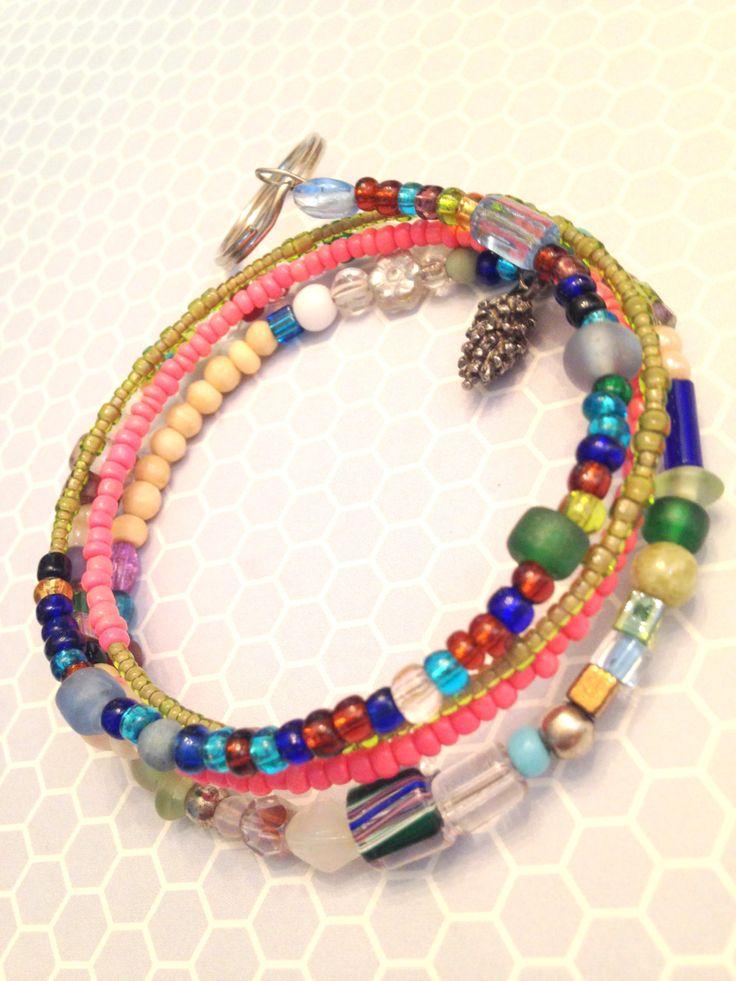 BOHO Beaded Key Holder, Key Fob, Key Bracelet, Key Anklet, Layered Key Bracelet by westhillstudiojewel on Etsy