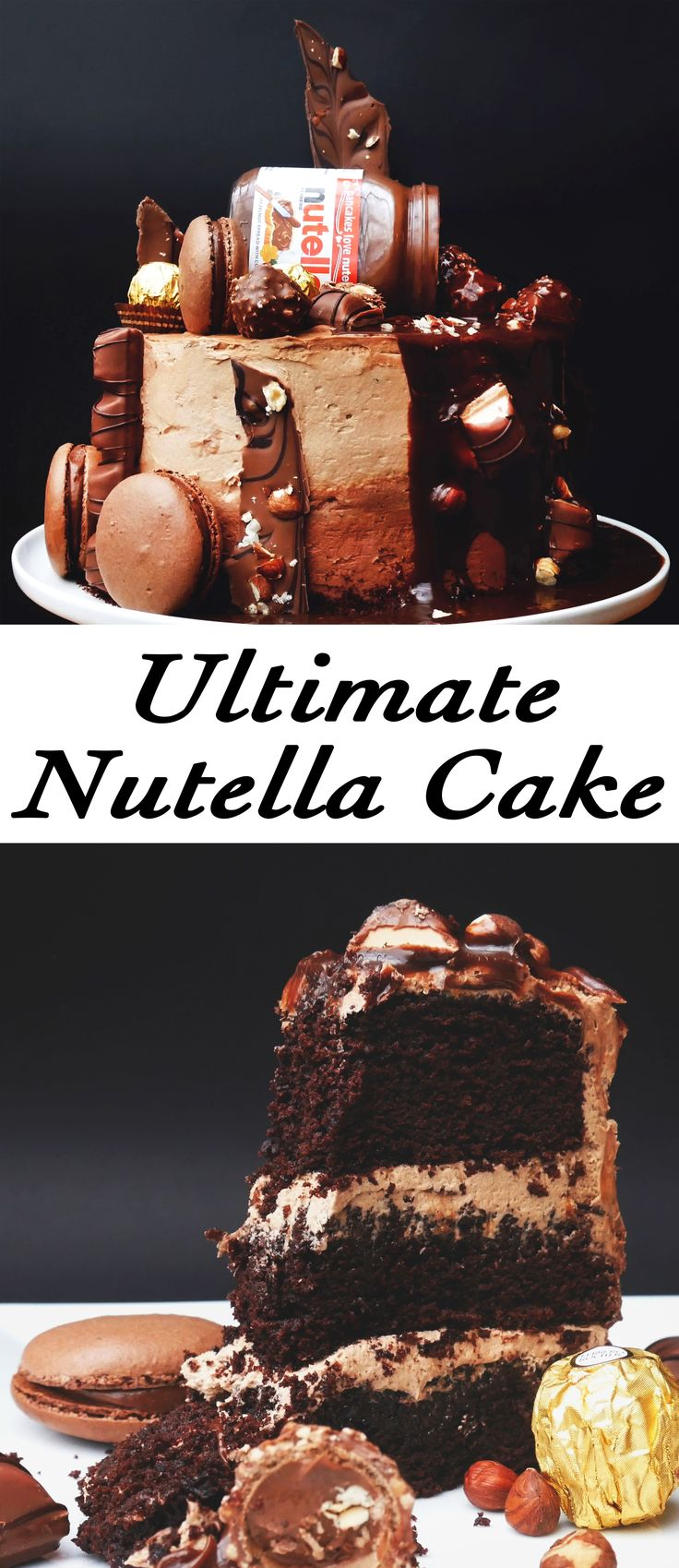 Oh my gosh!!!!!! This extremely chocolate cake has it all: Nutella, Kinder Bueno, Ferrero Rocher, Macarons, and Hazelnuts!