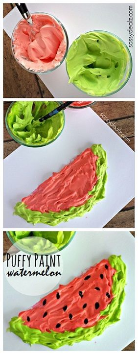 Watermelon Craft for Kids using Homemade Puffy Paint! Great for a summer art project