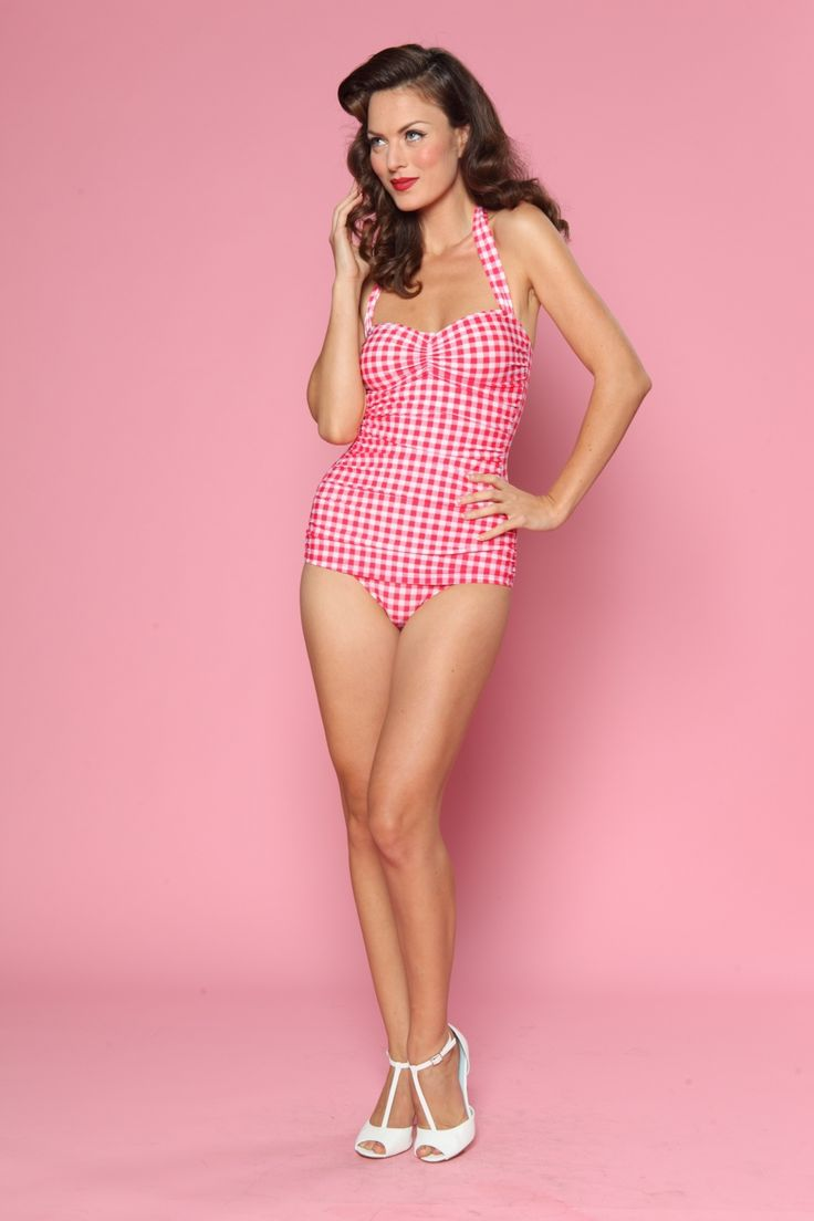 Esther Williams Swimwear - classic fifties one piece swimsuit Gingham white raspberry pink