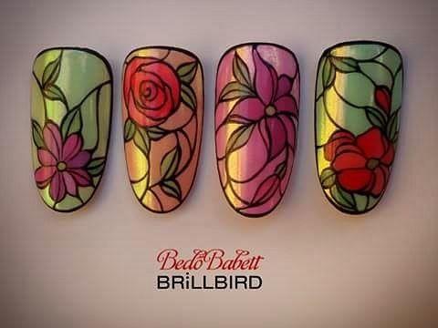 "184 Likes, 5 Comments - Bedő Babett (@bedo.babett) on Instagram: ""#gelpainting #gelnailart #course #brillbirdnails #brillbird #stainedglass #handpainting #flowers…"""