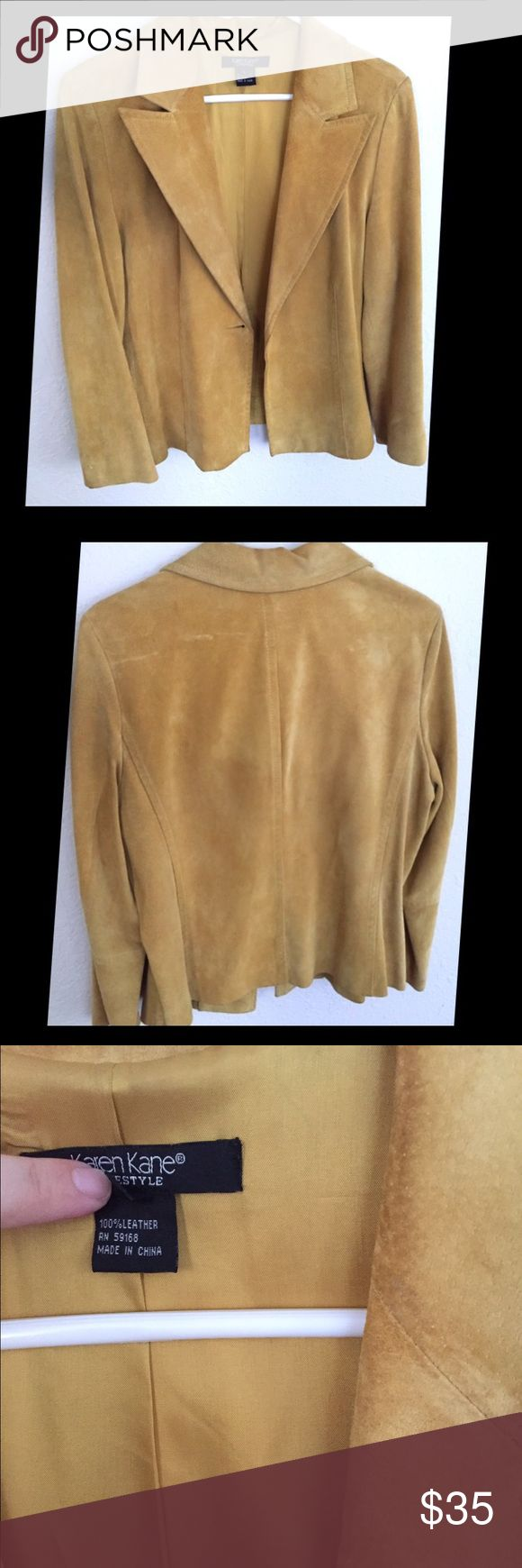 Karen Kane Suede Chartreuse Leather Jacket 100% suede leather jacket in mustard from Karen Kane. Vintage. Missing button, but other than that it's in great condition! Karen Kane Jackets & Coats Blazers