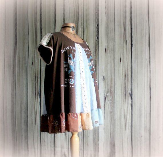 Plus Size Smock Top Lagenlook Clothing by BrokenGhostClothing
