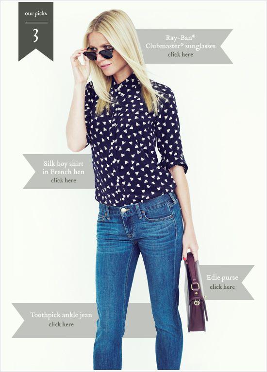 gwyn: Bright Blue Jeans, Gwyneth Paltrow, Fashion Style, J Crew, Fall Fashion, Silk Blouses, Jcrew, Prints Shirts, Blue Blouses