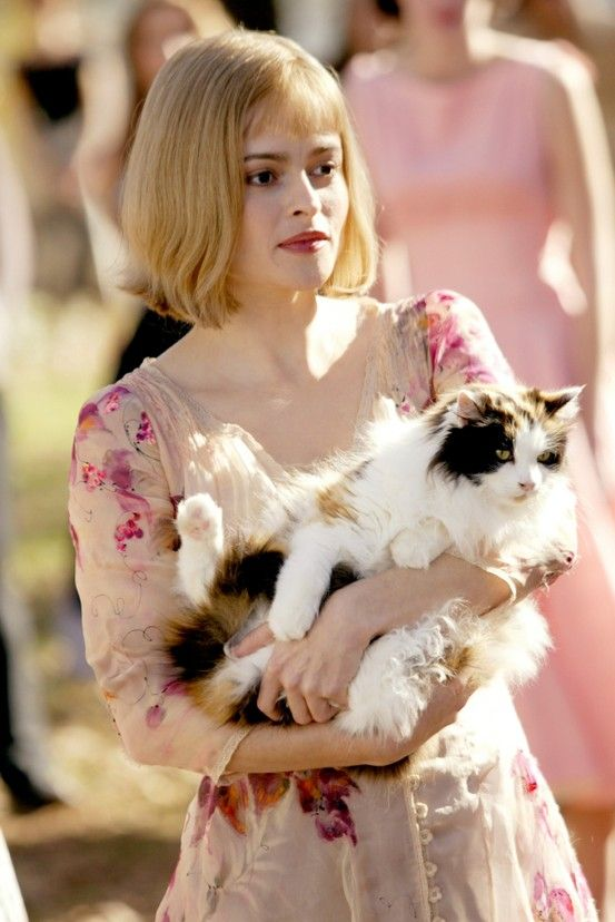 Helena Bonham Carter + cat + flower dress. There's nothing not to love about this photo.