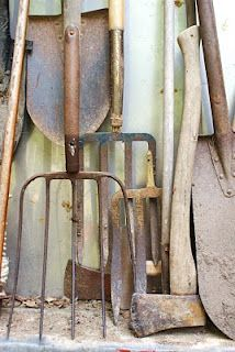 oh wow these were all used by Daddy and Mother plus more. Daddy perferred a large square hoe for making the rows and planting, Mothers favorite was a rectangle garden hoe she used for weeding the garden. We kids used the other hoes