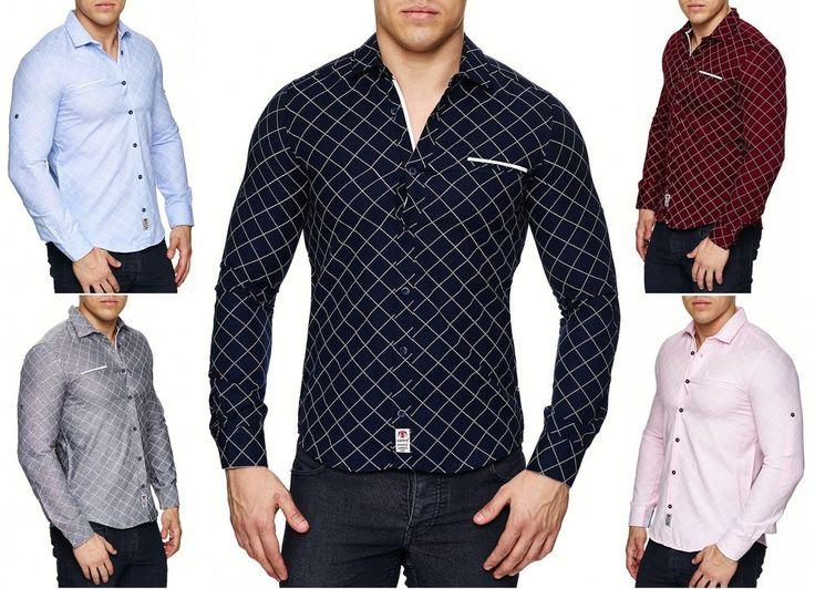 Slim Fit Herrenhemd Herren Hemd Kentkragen Kickdown Kontrast Kragen Knopfleiste