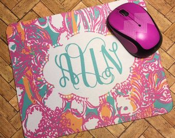 Lilly Pulitzer Inspired mousepad #monogram #lillypulitzerinspired #mousepad #monogrammedmousepad