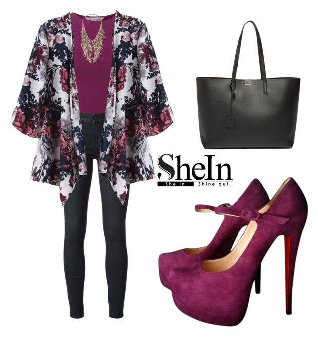 """""""SHEINSIDE Kimono"""" by tania-alves ❤ liked on Polyvore featuring Miss Selfridge, Koral, Christian Louboutin, Yves Saint Laurent, women's clothing, women, female, woman, misses and juniors"""