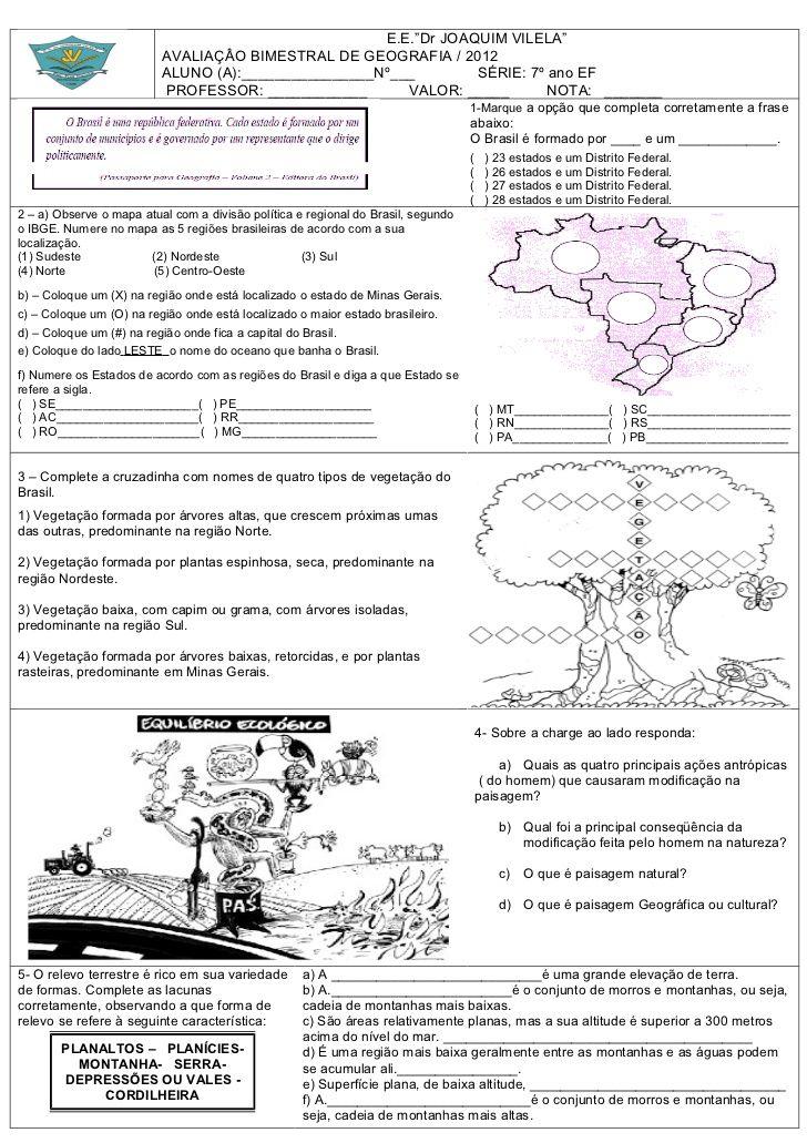 E E Dr Joaquim Vilela Avaliacao Bimestral De Geografia 2012