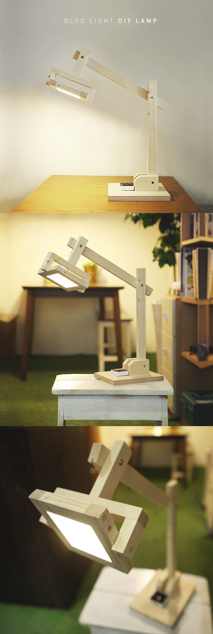 A wooden task lamp made with OLED light 100x100mm DIY Kit. To order an OLED panel, please contact Organic Lights at http://www.organic-lights.com/en/lg-display-do-it-yourself-kit.html