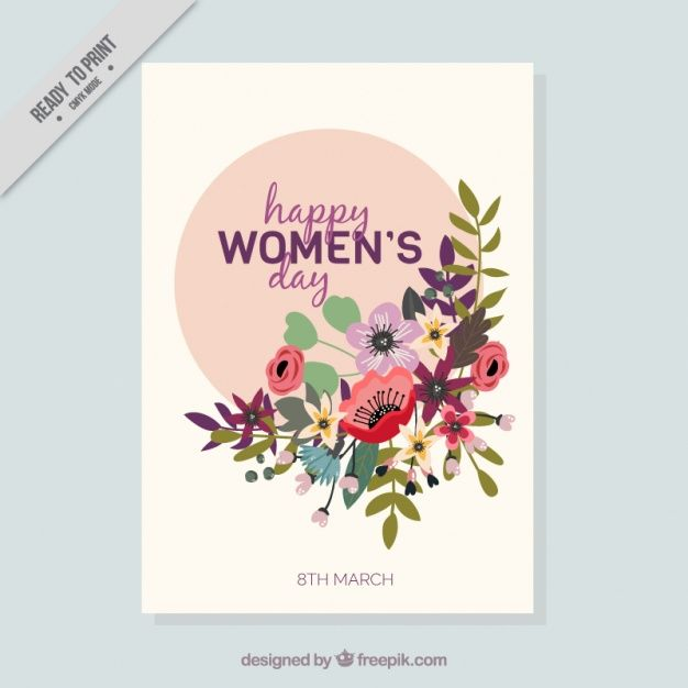 Women's day card with floral decoration in flat design Free Vector