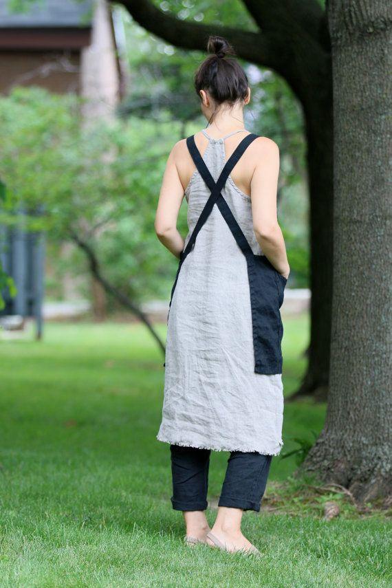 Linen crisscross apron/pinafore/noties by LostinLinen on Etsy
