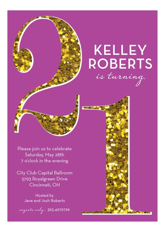 Purple Glitter Twenty-One Invitation
