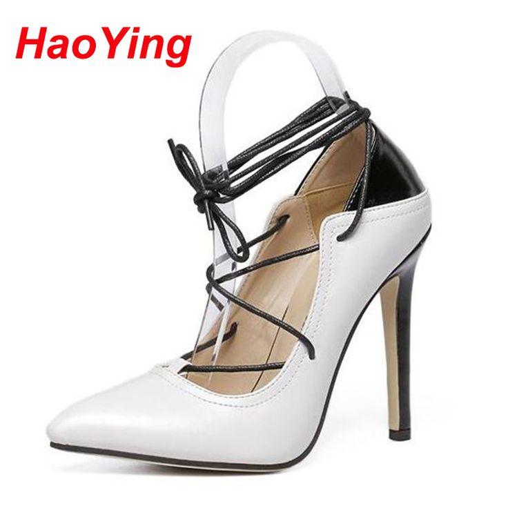 Туфли на каблуках туфли на высоком каблуке ремешками каблуки узелок-лодочки весна лето женщина острым носом каблуки белые свадебные туфли D485