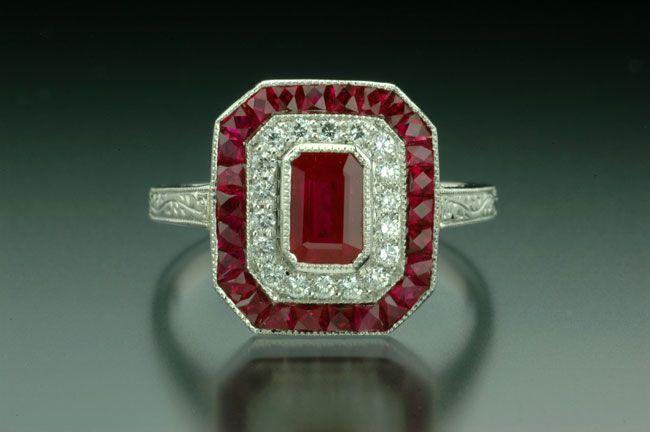 "Ruby & Diamond Art Deco ""Block O"" Ring"
