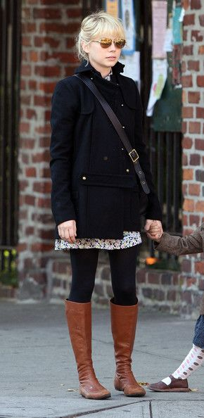 Black tights, camel boots                                                                                                                                                                                 More