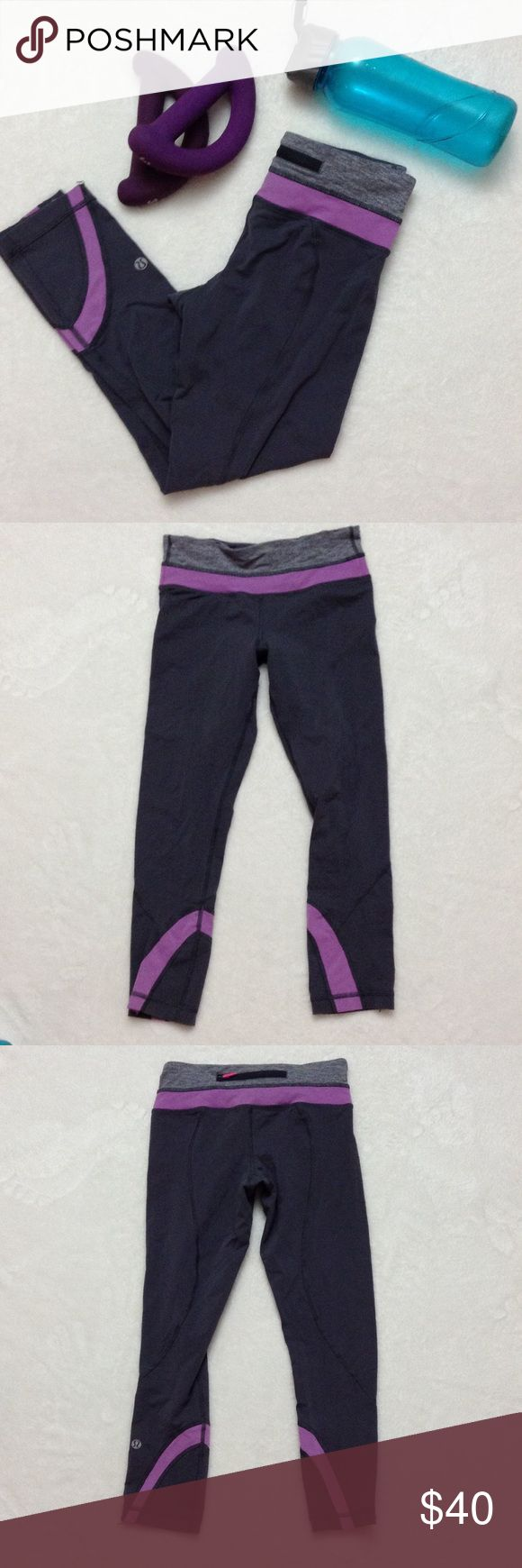 LULULEMON Gray Purple Yoga Crop Skinnies Pants LULULEMON Gray Purple Yoga Crop Skinnies Pants, size 4. Light piling and light cracking on logo but still in good condition. lululemon athletica Pants Ankle & Cropped