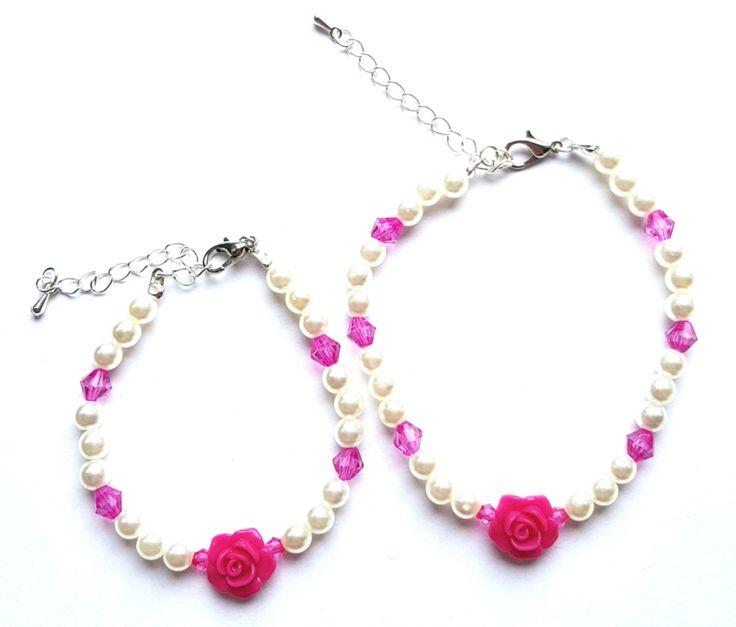 Moeder Dochter Armbanden Set Pink Rose