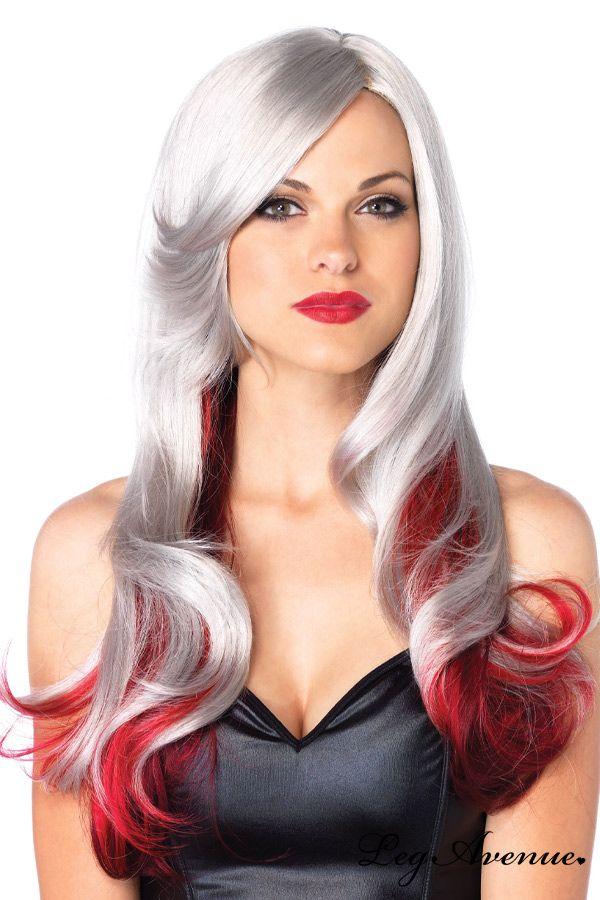 perruque de cheveux longs en dgrade gris rouge magnifique perruque dans un look longs cheveux - Perruque Colore