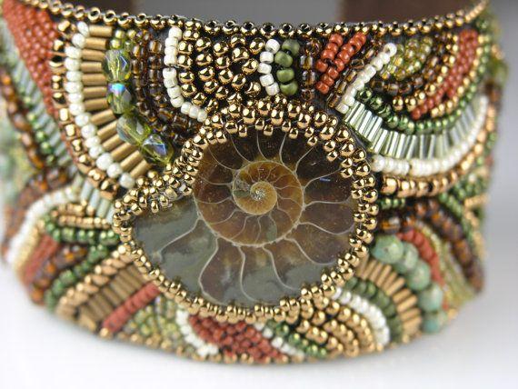 Ammonite - Bead Embroidered Cuff...Beautiful!