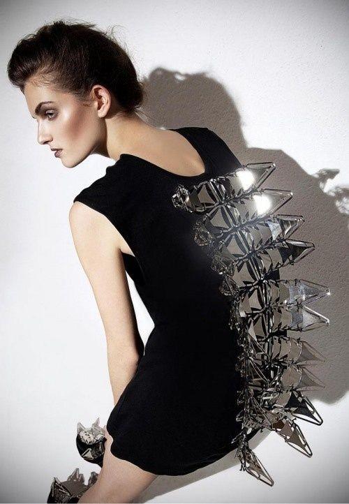 Sculptural Fashion - avant garde dress with metallic spine detail; futuristic fashion // Klara Kalicz