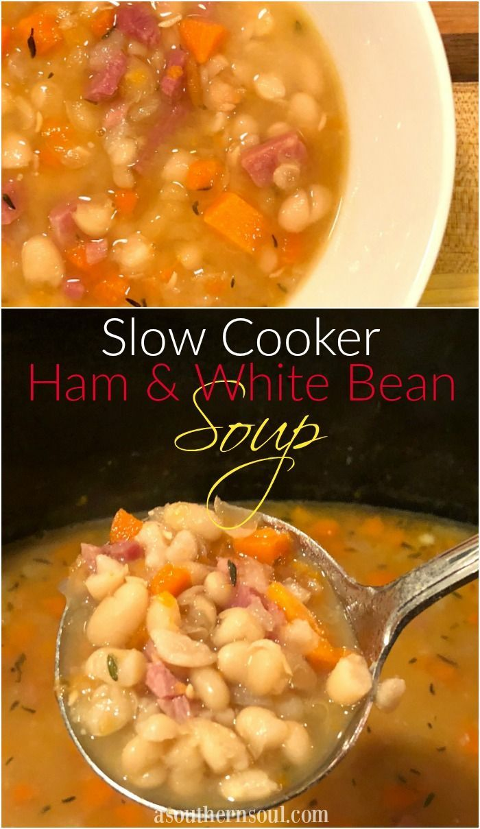 Tender, white beans, ham, along with a few veggies, good stock and herbs make a soup that's hearty and satisfying. It's a great, no stress meal on it's own especially when the slow cooker does all the work for you!