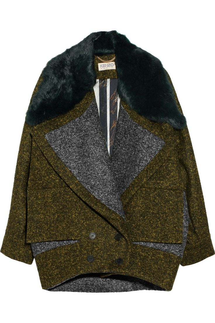 KENZO|Rabbit-trimmed wool-blend coat|NET-A-PORTER.COM
